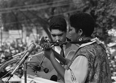 Singer Odetta At The 1963 Civil Rights Art Print by Everett