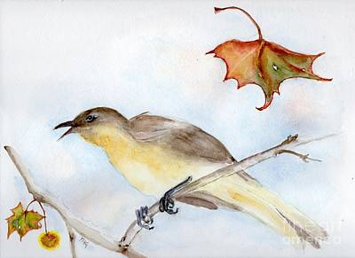 Art Print featuring the painting Singing Bird In Sycamore by Doris Blessington