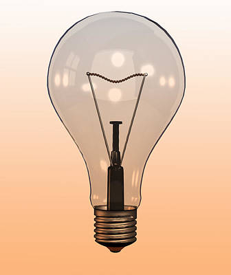 Y120907 Photograph - Single Light Bulb On Coloured Background by Calysta Images
