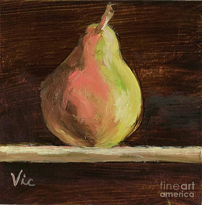 Painting - Single Pear by Vic  Mastis