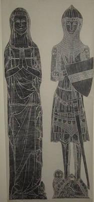 Brass Rubbing Mixed Media - Sir John De Creke And Wife by John Dillon