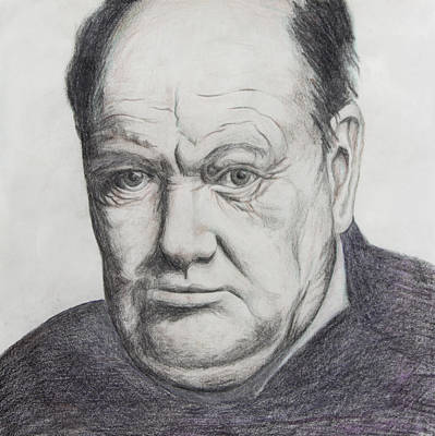 World Leader Drawing - Sir Winston Churchill by Daniel Young
