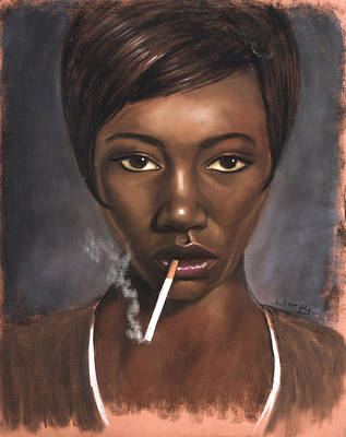Sister With Cigarette Art Print by L Cooper
