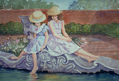 Painting - Sisters At The Fountain by Audrey Peaty