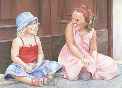 Sisters On Holiday Art Print by Maureen Carter