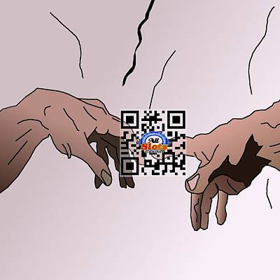 Drawing - Sistine Qr Code by Casino Artist