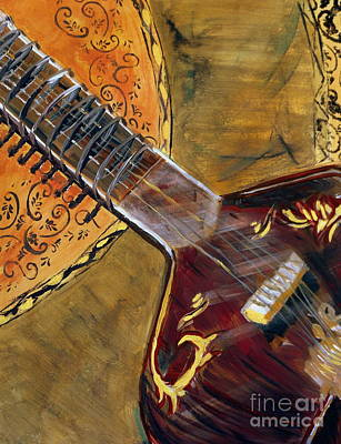 Indian Musical Instrument Painting - Sitar 3 by Amanda Dinan