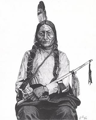 Sioux Drawing - Sitting Bull by Jeff Ridlen