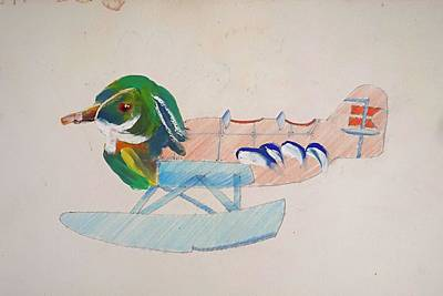 Puffin Drawing - Sitting Duck by Virginia Stuart