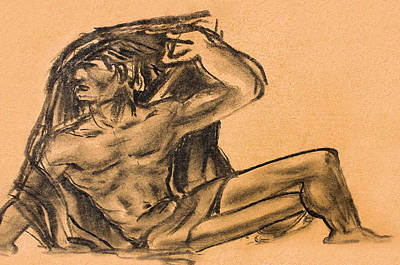 Sitting Human Charcoal Drawing  Art Print by Odon Czintos