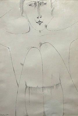 Drawing - Sitting Nude by Jerzy Nowosielski