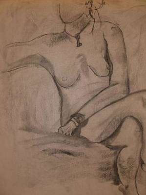 Drawing - Sitting Nude by Samantha L