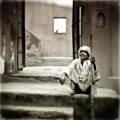 Sitting On Stairs Art Print by Mostafa Moftah