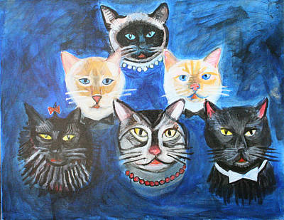 Six Cats Print by Cheryl Scribner