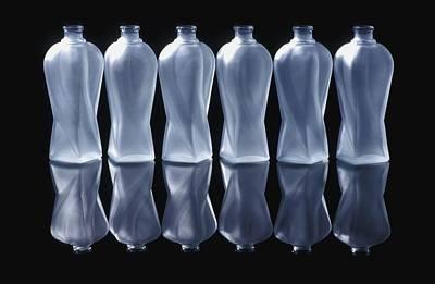 Row Of Bottles Photograph - Six Glass Bottles by David Chapman