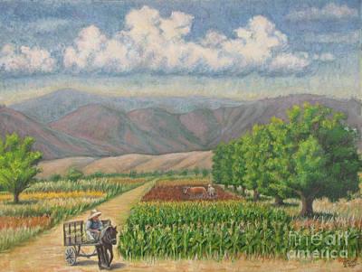 six nut trees in Zaachila Art Print by Judith Zur