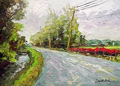 Powerlines Painting - Skagit Valley by Arlon Rosenoff