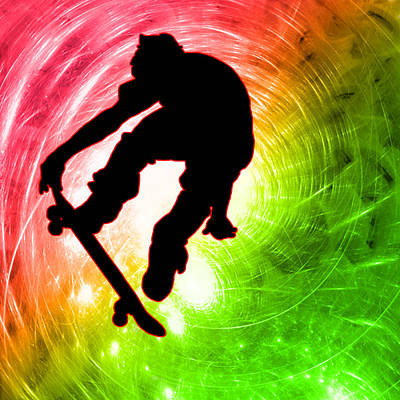 Extreme Sports Painting - Skateboarder In A Psychedelic Cyclone by Elaine Plesser