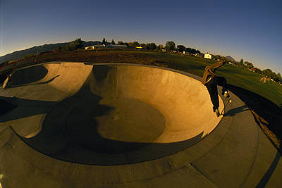 Skateboarding In A Skate Park Art Print by Bill Hatcher