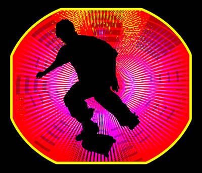 Skateboarding On Fluorescent Starburst Art Print by Elaine Plesser