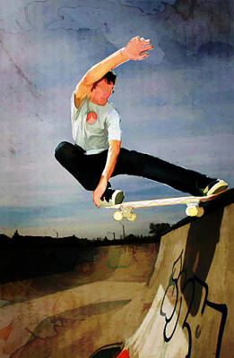 Extreme Sports Painting - Skateboarding The Wall  by Elaine Plesser