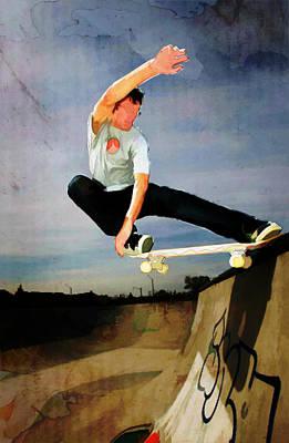 Skateboarding The Wall  Art Print by Elaine Plesser