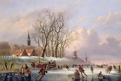 Skating Painting - Skaters On A Frozen River Before Windmills by Dutch School