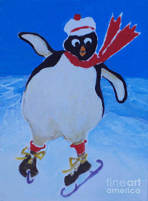 Painting - Skating Penguin by Diane Ursin