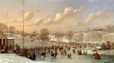 Skating Scene Art Print by Johann Mongels Culverhouse