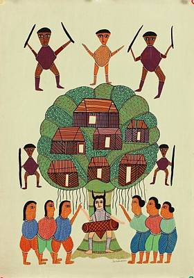 Gond Tribal Art Painting - Skd 27 by Suresh Kumar Dhurve