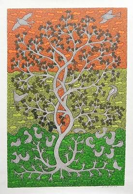 Gond Art Painting - Skd 306 Tree Of Life by Suresh Kumar Dhurve