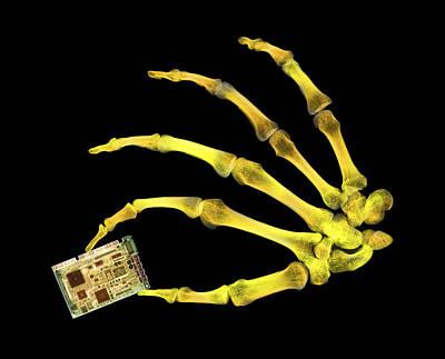 Skeleton Holding Sound Board Art Print