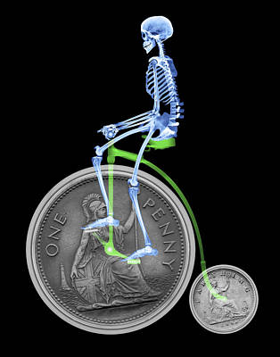 Penny Farthing Photograph - Skeleton On A Penny Farthing by D. Roberts