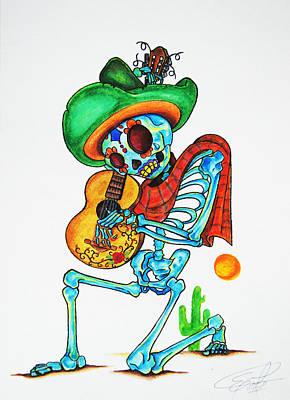 Skeleton Sombrero Original by Erik Pinto
