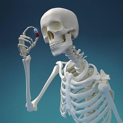 Pill Digital Art - Skeleton With Pill, Artwork by Andrzej Wojcicki
