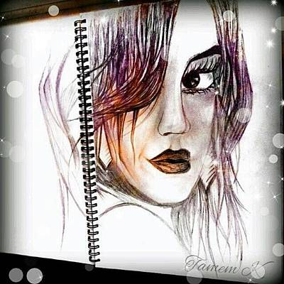 Comics Wall Art - Photograph - #sketch #girl #comic #eyes #art #lips by K H   U   R   A   M