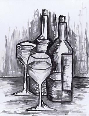 Sketch - Still Life With Wine Print by Kamil Swiatek