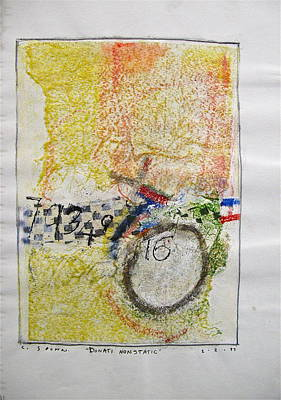 Abstract Collage Drawing - Sketchbook 1  Pg 38 by Cliff Spohn