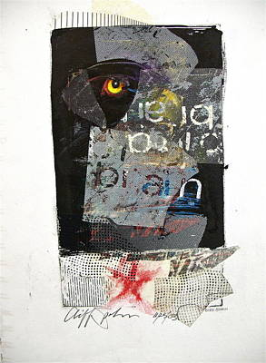 Abstract Collage Drawing - Sketchbook 2  Pg 57 Bird Brain by Cliff Spohn