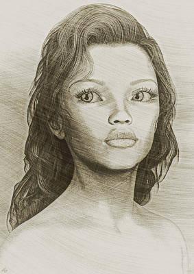 Art Print featuring the digital art Sketched Portrait by Maynard Ellis