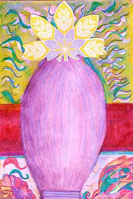 Sketched Vase With Imagined Flowers Art Print by Anne-Elizabeth Whiteway