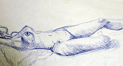 Abstract Female Torso Painting - Sketches Of Z 2 by Julie Lueders