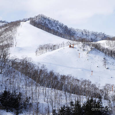 Chair Lift Photograph - Ski Slope With Chairlift by Jeremy Woodhouse