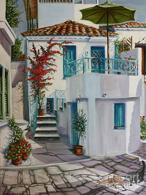 Skiathos Painting - Skiathos Townhouse by Yvonne Ayoub