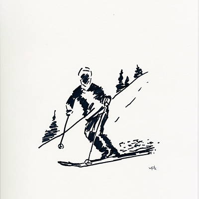 Maine Mountains Drawing - Skier Iv by Winifred Kumpf