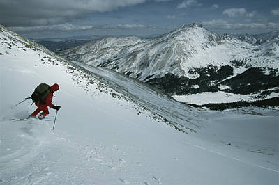 Sawatch Range Photograph - Skier Phil Atkinson Begins His Descent by Tim Laman