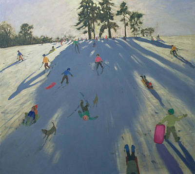 Ski Painting - Skiing by Andrew Macara