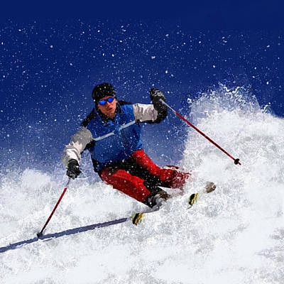 Slalom Painting - Skiing Down The Mountain by Elaine Plesser