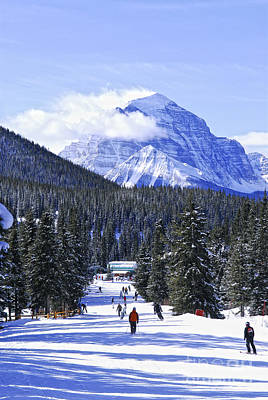 Canadian Rockies Photograph - Skiing In Mountains by Elena Elisseeva