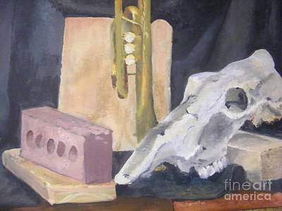 Cornet Painting - Skull And Brick by Delores Swanson